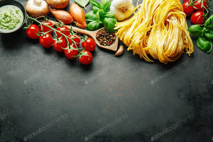 Italian food background on dark