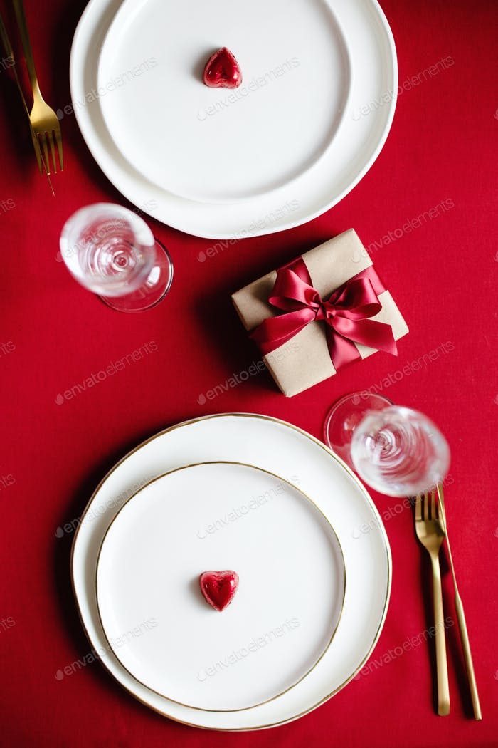 Valentine Table Setting for Two Persons