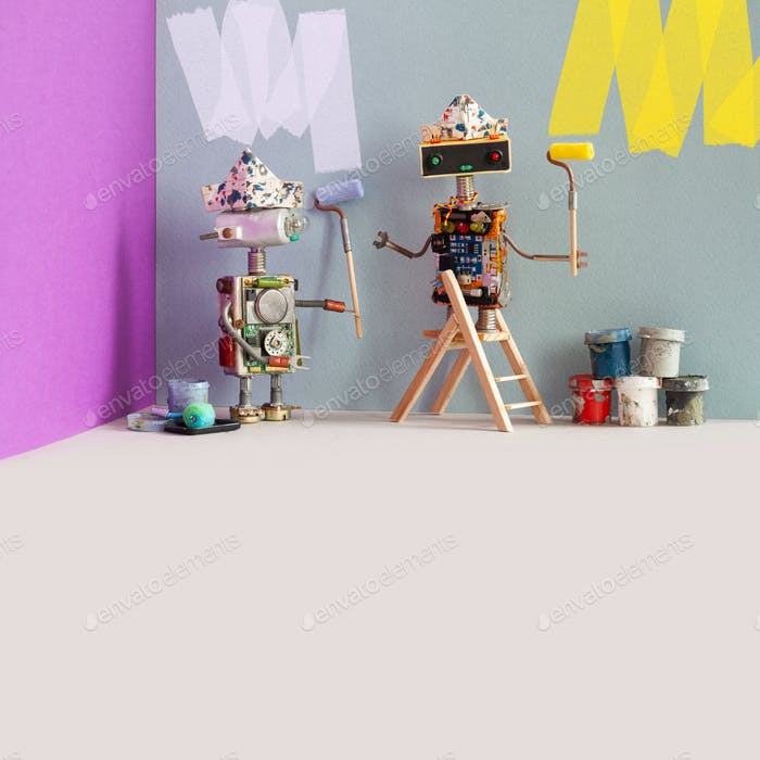 Decorators robots repaints the wall of the room. Funny painters robotic toys, indoors interior