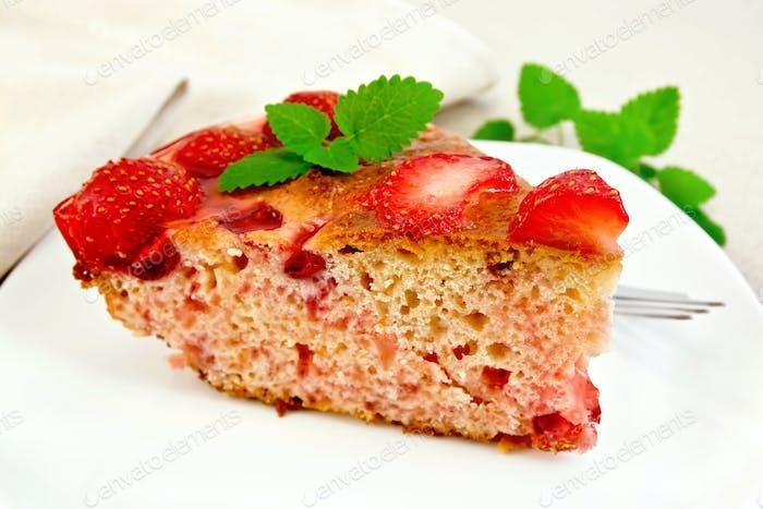 Kuchen Erdbeere mit Gelee an Bord
