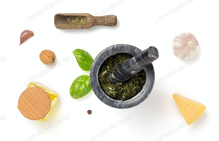 green sauce in mortar isolated white