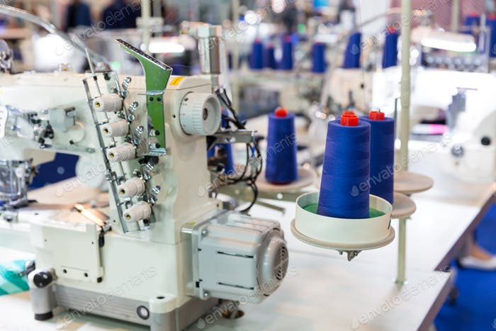 Sewing machine and cloth, nobody, clothing factory