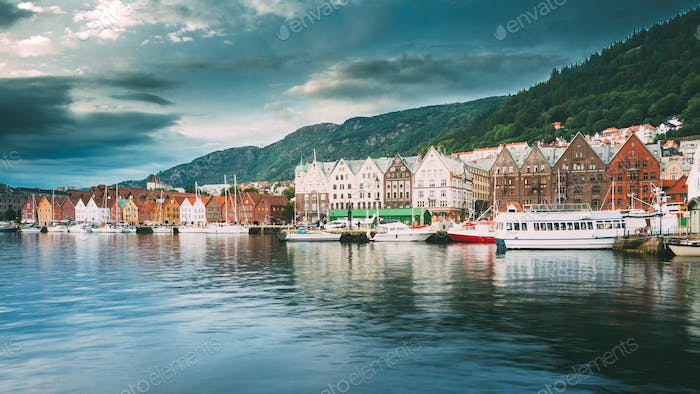 Bergen, Norway. View Of Historical Architecture, Buildings, Bryg