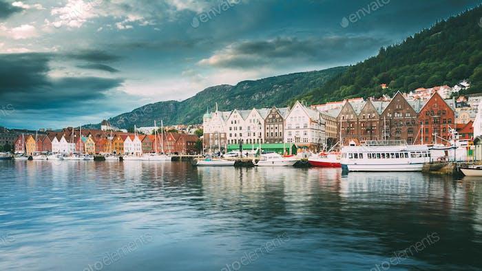 Bergen, Norwegen. Blick auf Historische Architektur, Gebäude, Bryg