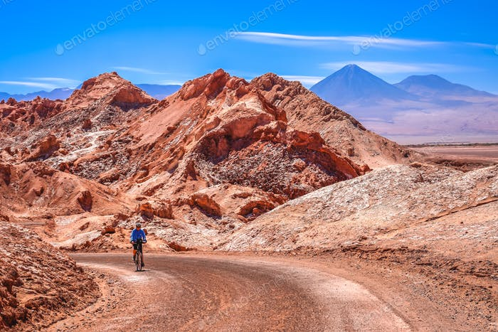 Cycling through the famous Valle the la Luna  in Chile
