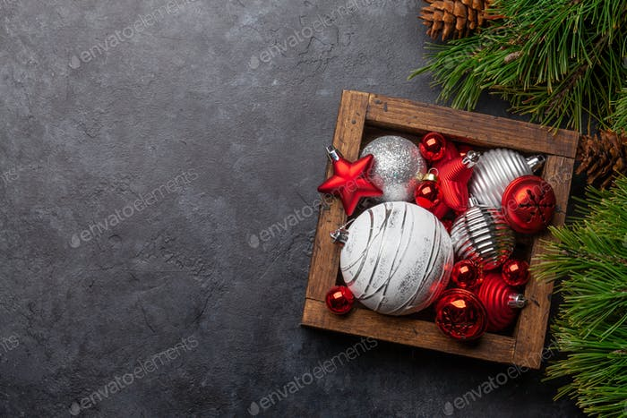 Christmas card with fir tree and decor box