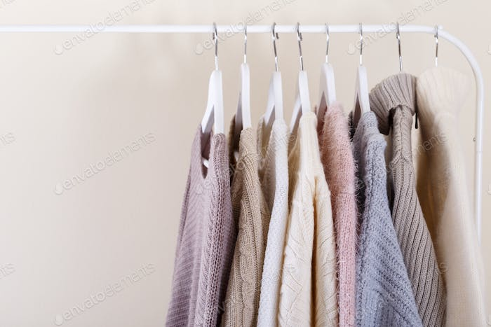 Spring clothes hanging on a rack
