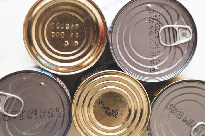 Tin, canned food isolated on white. Stock and proviant concept