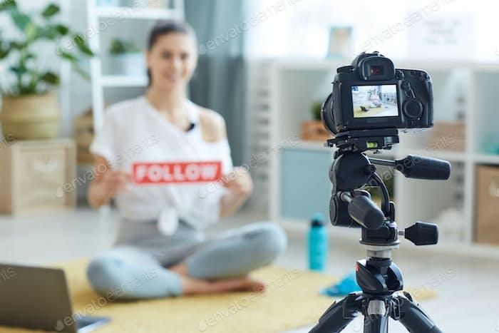 Woman Recording Online Workout