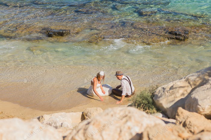 honeymoon couple travel sea and beach resort in Europe. Bride and groom