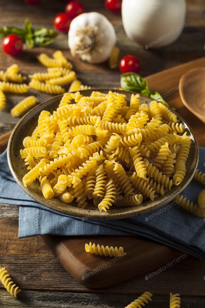 Raw Dry Organic Fusilli Pasta