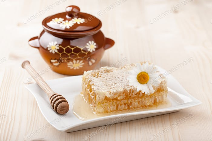 Honey comb and honey pot