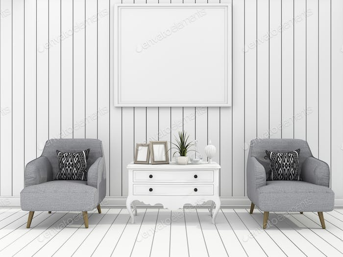 3d rendering white modern wall living room with soft armchair