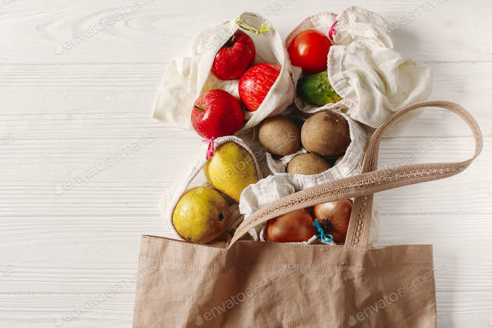 Eco natural bags with fruits and vegetables