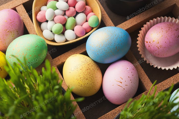 Colourful easter eggs painted in pastel colors