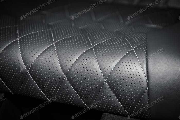 Black perforated leather interior details