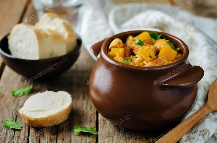 Pumpkin chicken cilantro rice