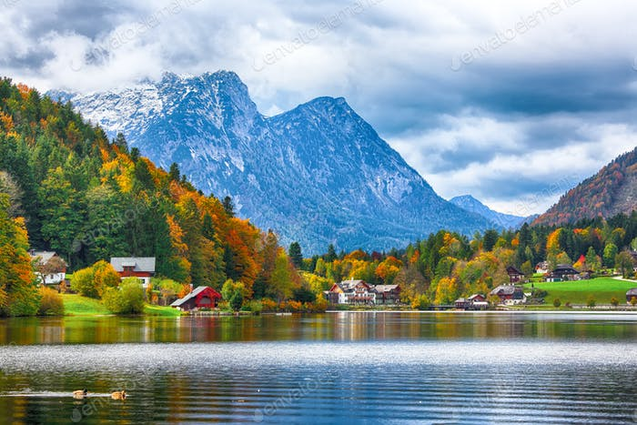 Idyllic autumn scene in Grundlsee lake