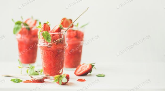 Strawberry, champaigne summer granita in glasses, wide composition