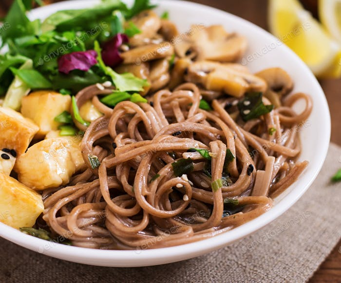 Miso and soba noodle soup with roasted tofu and mushrooms