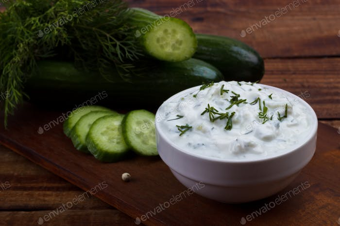 Tzatziki sauce and ingredients.