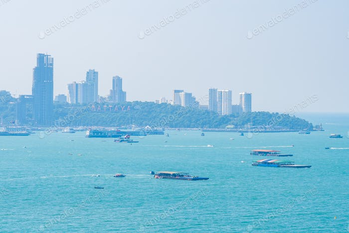 Beautiful outdoor landscape and seascape with sea ocean bay in Pattaya city