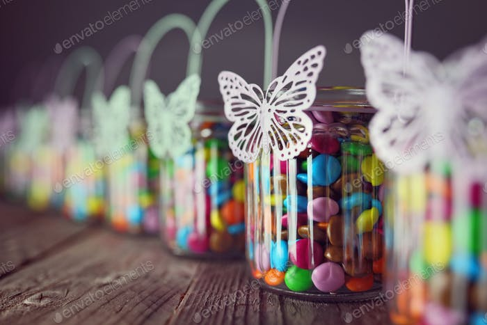 Chocolate candies in jars