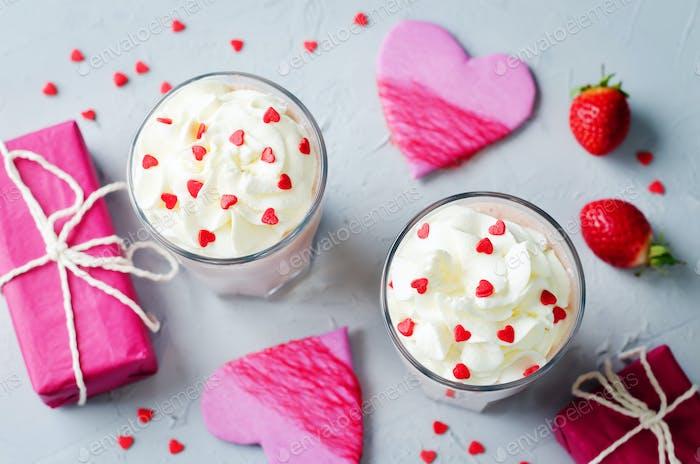 Valentines Strawberry banana milkshake with whipped cream