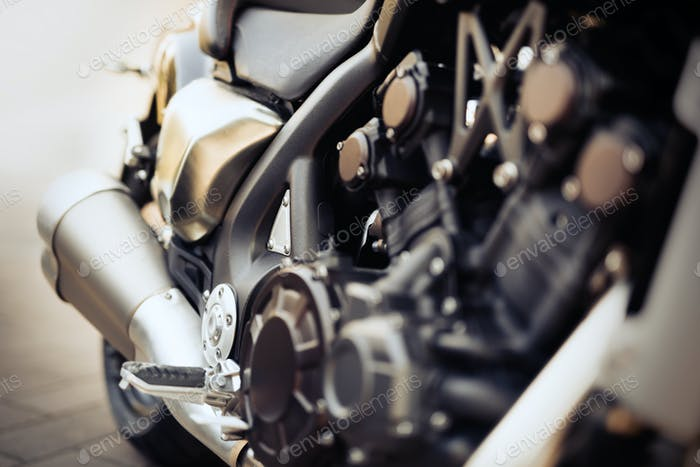 Closeup of motorcycle parts