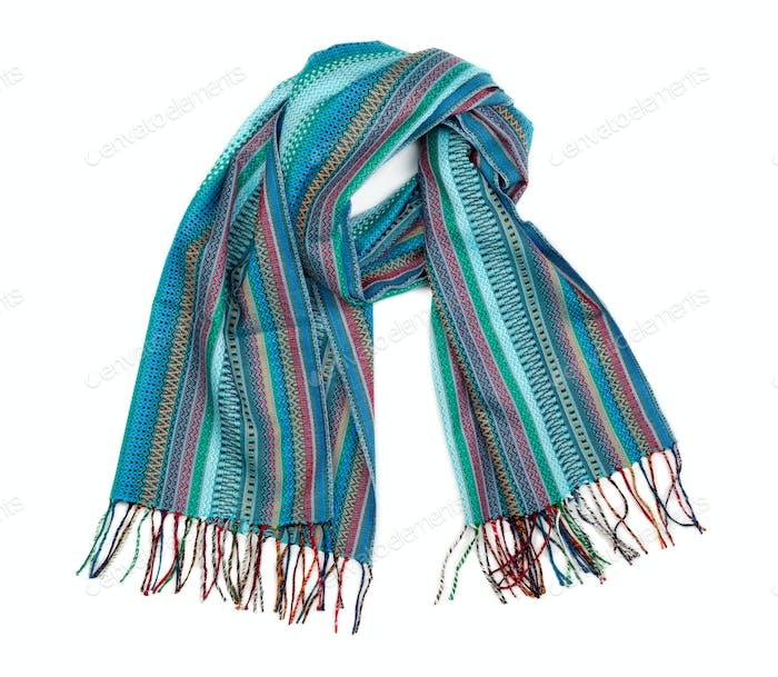Blue striped scarf.