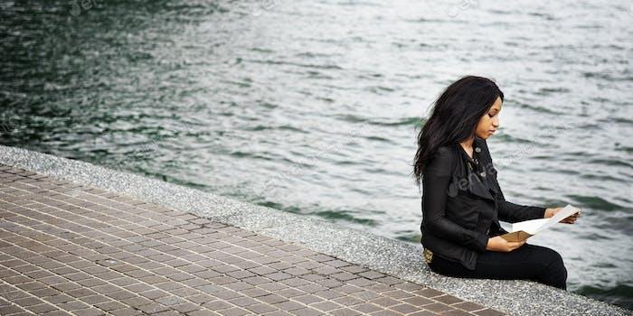 Frau African American Depressive traurig weiblich Konzept
