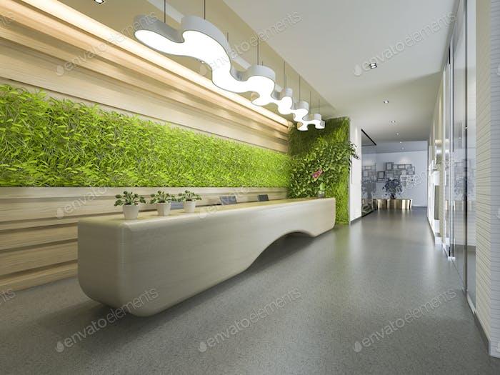3D Rendering Luxus Hotel und Büro Rezeption und Lounge