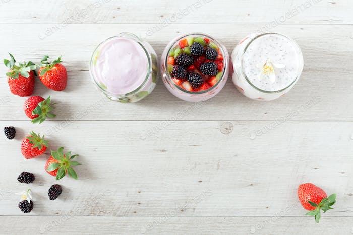 Yogurt With Berries Background