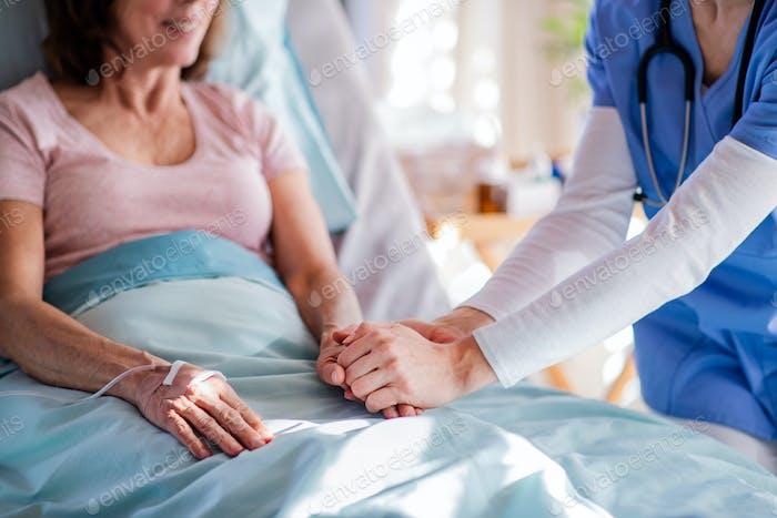 Unerkennbare Arzt im Gespräch mit älteren Patienten im Bett im Krankenhaus