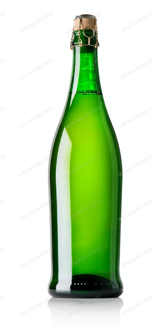 Beer in green bottle