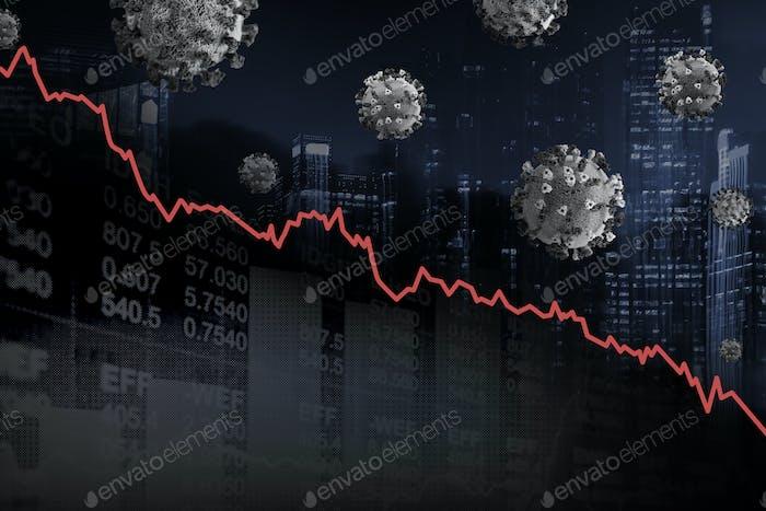 Impacto económico y disminución debido a la pandemia de coronavirus