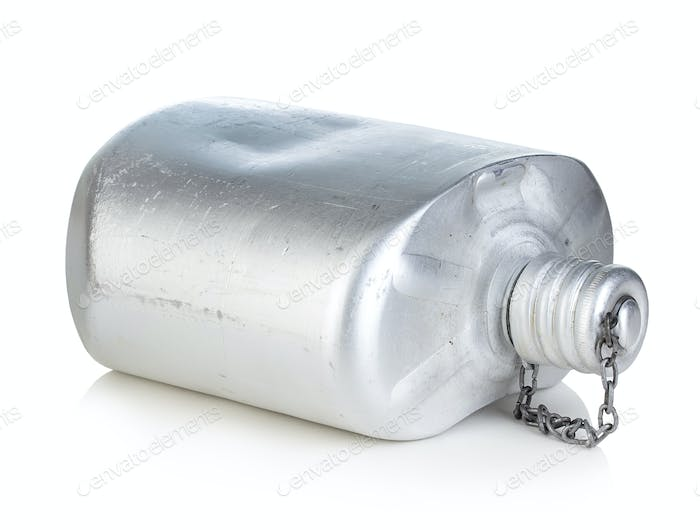 Old army aluminum flask isolated on a white background.