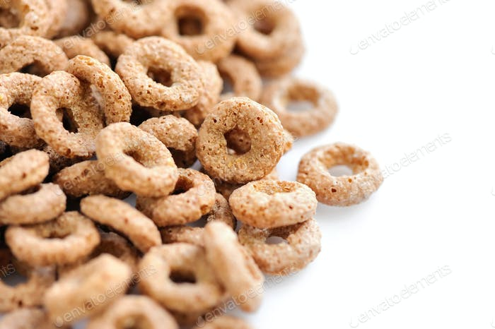 Cereal rings on white background