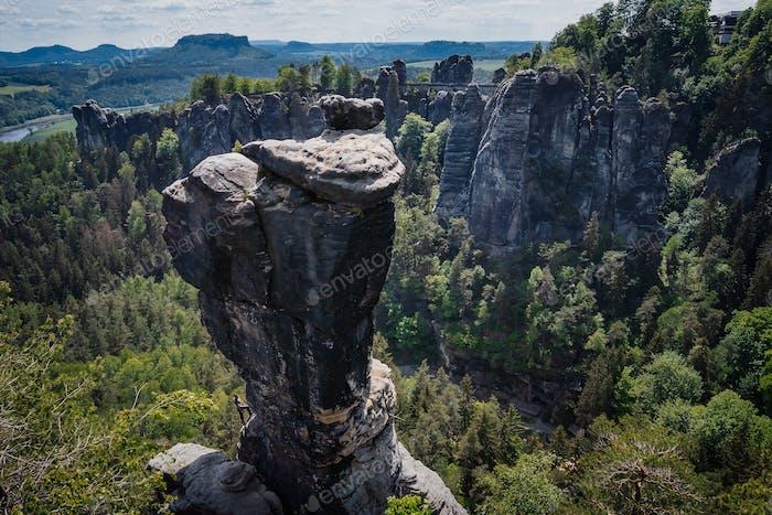 Ferdinandstein in famous Bastei national park Saxon Switzerland, Germany. Beautiful sand stone