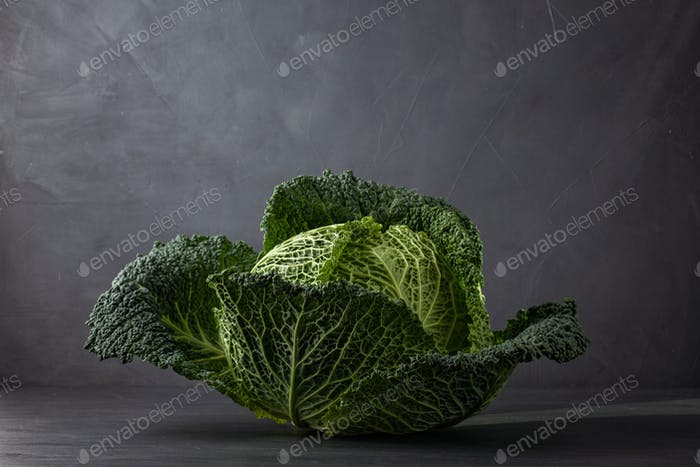 Savoy cabbage fresh green head over gray background. Concept of organic farming, agriculture