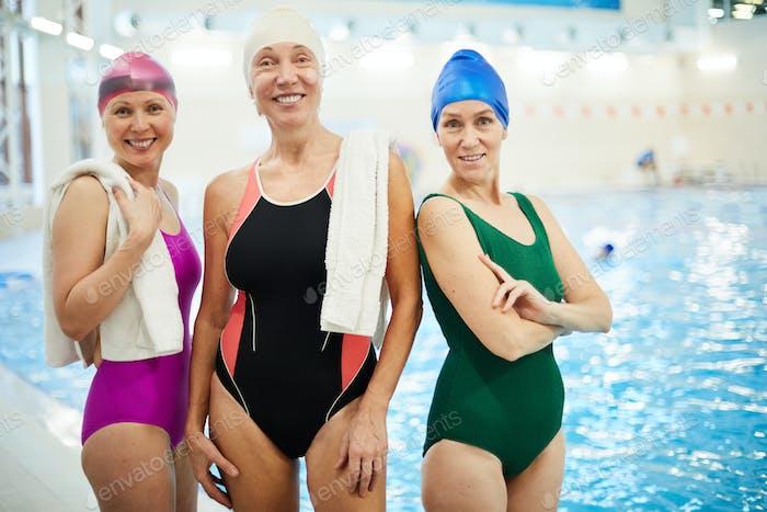 Three Senior Women in Swimming Pool