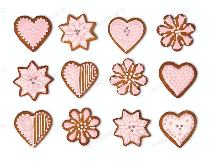 Gingerbread cookies collection isolated