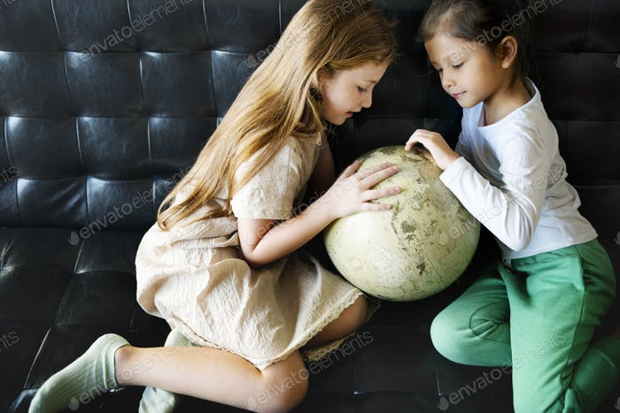 Thumbnail for Girl Sister Learning Geography Knowledge Concept