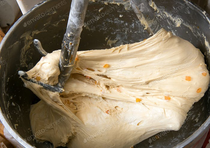 Mixing dough in a bakery