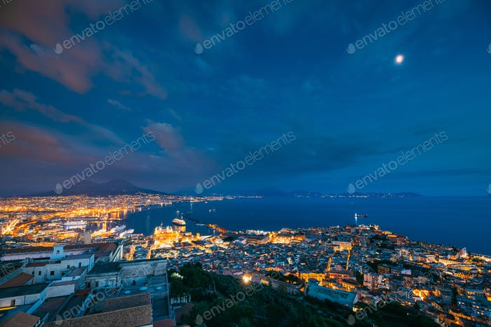 Naples, Italy. Skyline Cityscape In Evening Lighting. Tyrrhenian