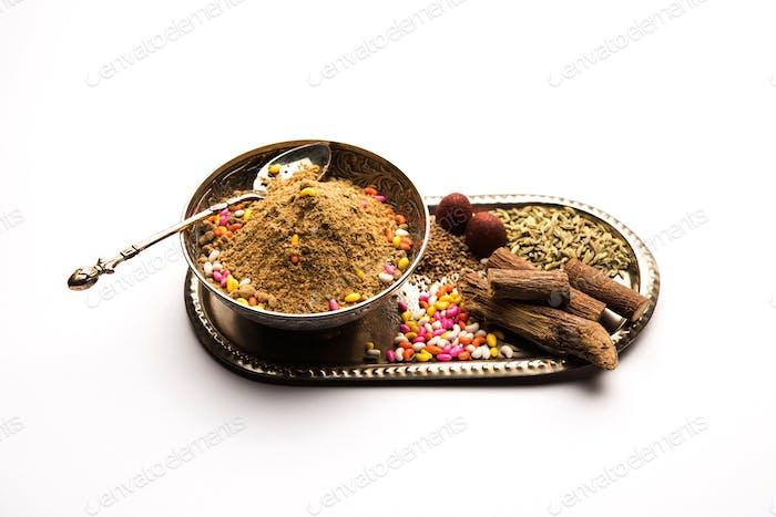 Indian mouth freshener Mukhwas or Masala Supari with basic ingredients