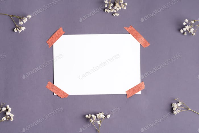 Greeting card from gypsophila twigs and sheet of paper for text attached by tape on the dark gray