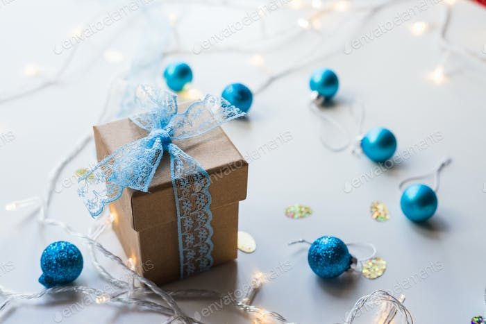Beautiful Christmas composition with gift or present box on white background.