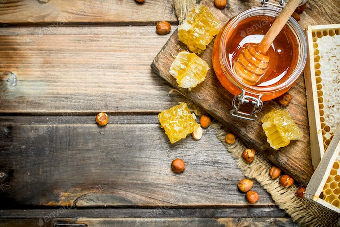 Natural honey with nuts.