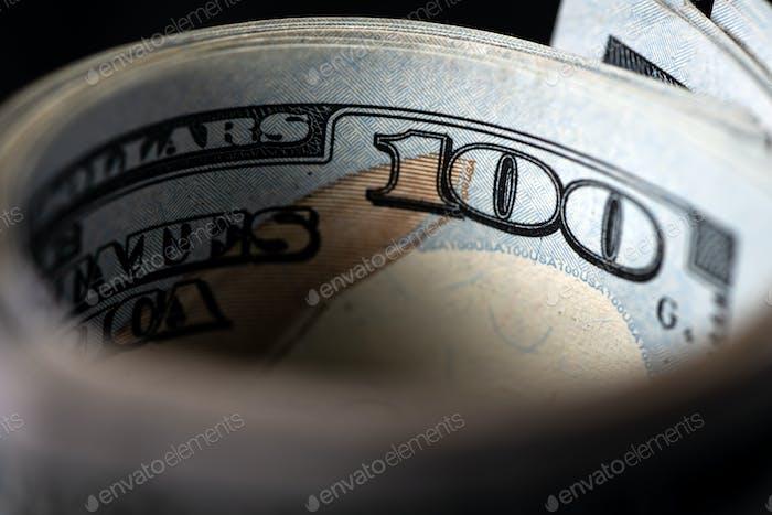 US dollar bill in a macro shot
